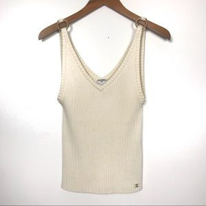 CHANEL Cream  Ribbed Tank Top w/ Glass Bead Detail